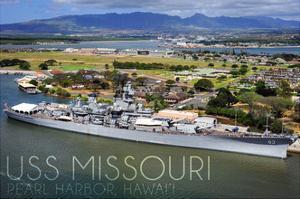 USS Missouri - Aerial Dock View by Lantern Press