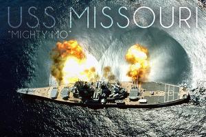 USS Missouri - Aerial Firing by Lantern Press