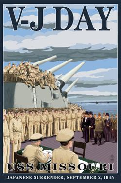 USS Missouri - V-J Day Scene by Lantern Press