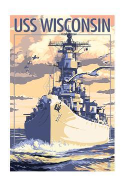 USS Wisconsin - Sunset Scene by Lantern Press