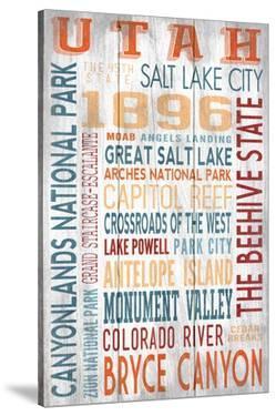 Utah - Barnwood Typography by Lantern Press
