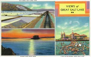 Utah, Scenic Views from Great Salt Lake, Salt Beds, Black Rock, Swimmers by Lantern Press
