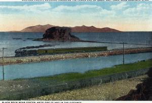 Utah - Train Crossing Lower End of Great Salt Lake, Black Rock, Antelope Island, c.1917 by Lantern Press