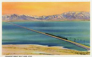 Utah - Train Crossing the Great Salt Lake, c.1937 by Lantern Press