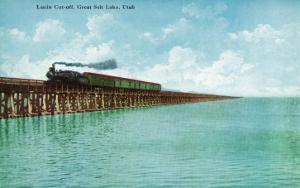 Utah, View of the Great Salt Lake Lucin Cut-off, Train on RR Bridge by Lantern Press