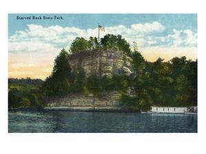 Utica, Illinois, View of Starved Rock State Park from the Water by Lantern Press