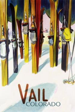 Vail, CO - Colorful Skis by Lantern Press