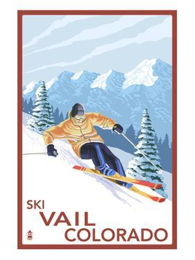 Vail, CO - Downhill Skier by Lantern Press
