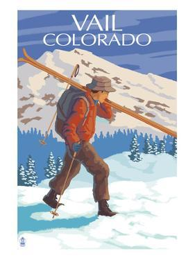 Vail, CO - Skier Carrying Skis by Lantern Press
