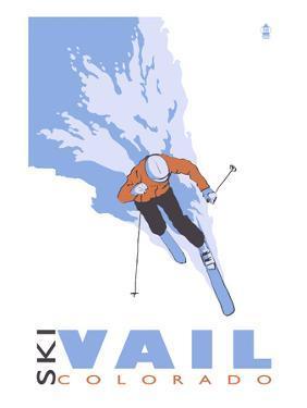 Vail, CO - Stylized Skier by Lantern Press