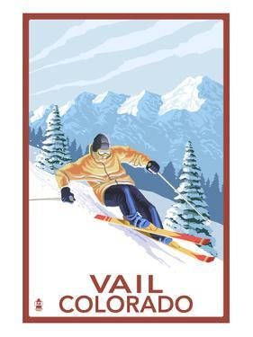 Vail, CO - Vail Downhill Skier by Lantern Press