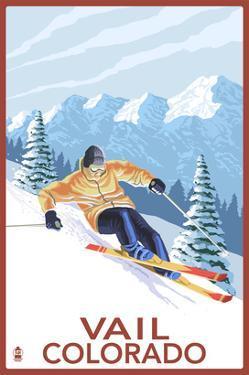 Vail, CO - Vail Downhill Skier by Lantern Press