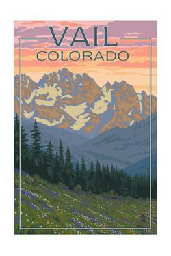 Vail, Colorado - Bears and Spring Flowers by Lantern Press