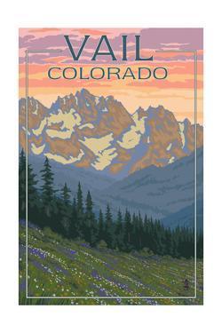 Vail, Colorado - Bears and Spring Flowers by Lantern Press