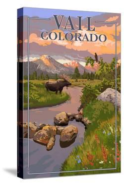 Vail, Colorado - Moose and Meadow Scene by Lantern Press