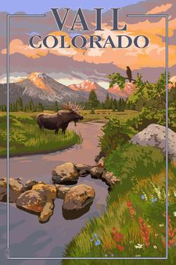 Vail, Colorado - Moose and Meadow Scene by Lantern Press