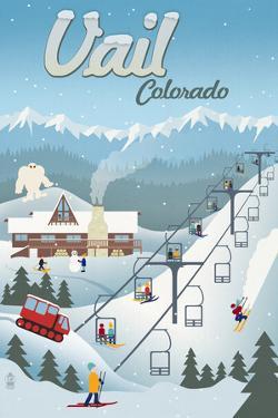 Vail, Colorado - Retro Ski Resort by Lantern Press