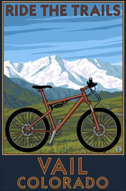 Vail, Colorado - Ride the Trails, Mountain Bike by Lantern Press