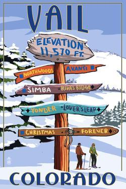 Vail, Colorado - Ski Signpost by Lantern Press
