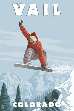 Vail, Colorado - Snowboarder Jumping by Lantern Press