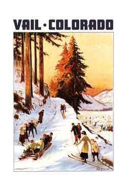 Vail, Colordao - Sledding and Skiing by Lantern Press