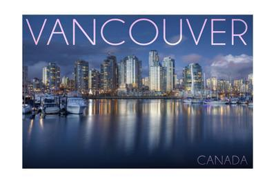 Vancouver, Canada - Marina and City by Lantern Press
