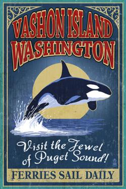 Vashon Island, Washington - Orca Whale Vintage Sign by Lantern Press