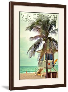 Venice Beach, California - Lifeguard Shack and Palm by Lantern Press