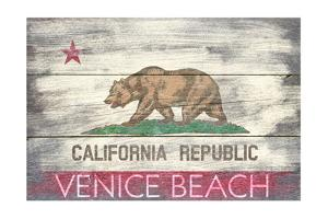Venice Beach, California - State Flag - Barnwood Painting by Lantern Press