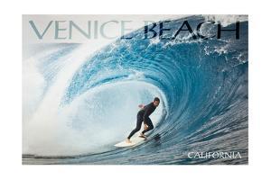 Venice Beach, California - Surfer in Perfect Wave by Lantern Press