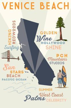 Venice Beach, California - Typography and Icons by Lantern Press