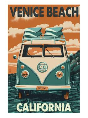 Venice Beach, California - VW Van by Lantern Press