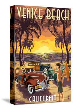 Venice Beach, California - Woodies and Sunset by Lantern Press
