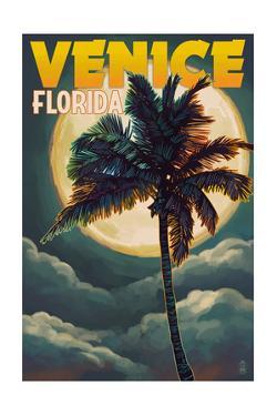 Venice, Florida - Palms and Moon by Lantern Press