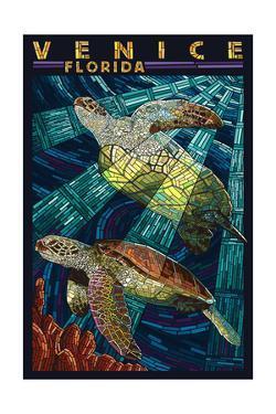 Venice, Florida - Sea Turtle Paper Mosaic by Lantern Press