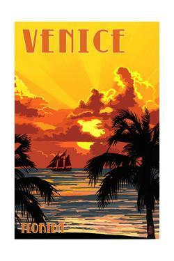 Venice, Florida - Sunset and Ship by Lantern Press