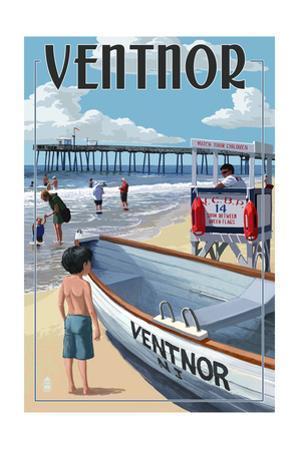 Ventnor, New Jersey - Lifeguard Stand by Lantern Press