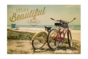 Ventura, California - Life is a Beautiful Ride - Beach Cruisers by Lantern Press