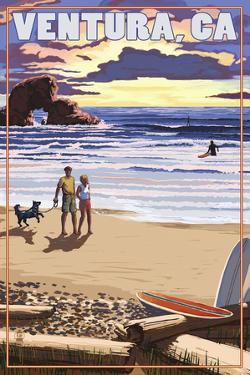 Ventura, California - Surfing Beach Scene by Lantern Press