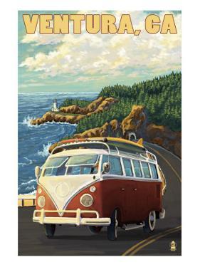 Ventura, California - VW Van Drive by Lantern Press