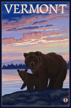 Vermont - Bear and Cub by Lantern Press