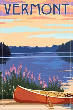 Vermont - Canoe and Lake by Lantern Press