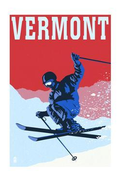 Vermont - Colorblocked Skier by Lantern Press