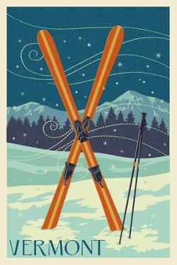 Vermont - Crossed Skis - Letterpress by Lantern Press