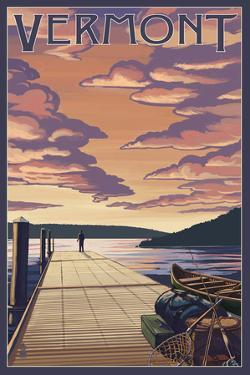 Vermont - Dock Scene and Lake by Lantern Press