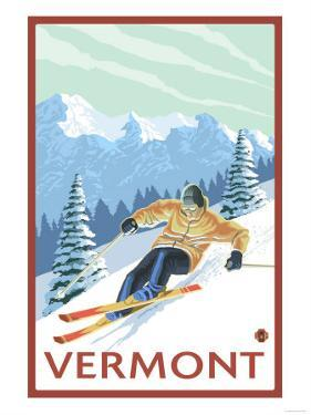 Vermont - Downhill Skier Scene by Lantern Press