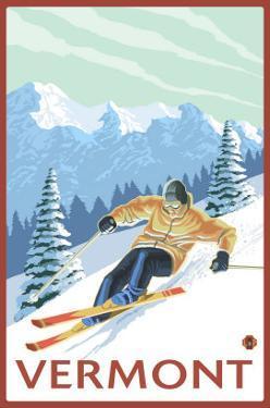 Vermont - Downhill Skier Scene by Lantern Press