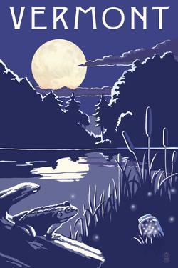 Vermont - Lake at Night by Lantern Press