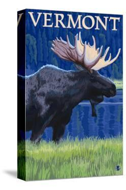 Vermont - Moose in the Moonlight by Lantern Press