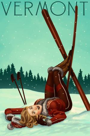 Vermont - Pinup Skier by Lantern Press